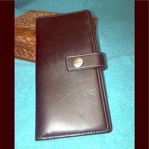 Coach's Black Checkbook Cover W Snap Strap Closure